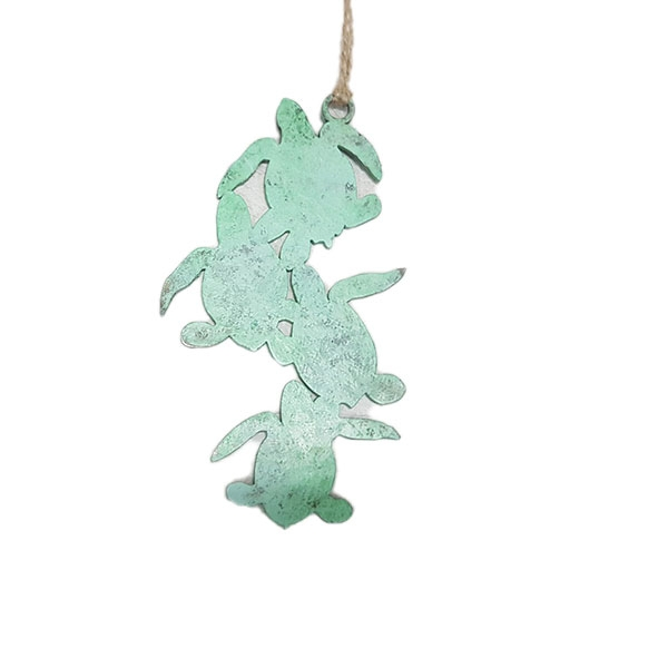 Hammered Stainless Steel Turtle Ornament Green