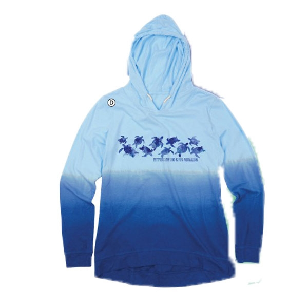 ADULT OMBRE BLUE LONG SLEEVE HOODY TURTLES