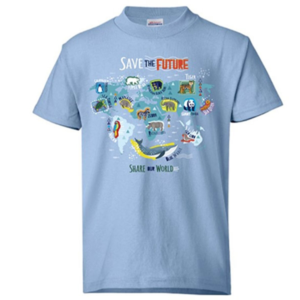YOUTH SAVE THE FUTURE, SHARE THE WORLD BLUE TEE