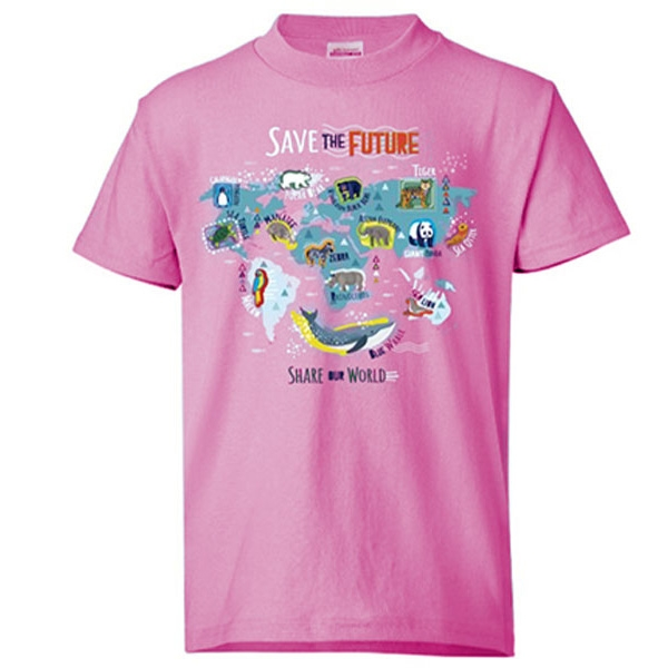 YOUTH SAVE THE FUTURE, SHARE THE WORLD PINK TEE