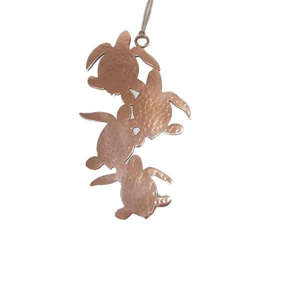 HAMMERED STAINLESS STEEL TURTLE ORNAMENT COPPER