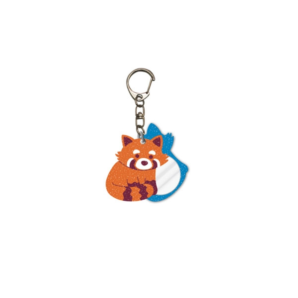 GLITTER RED PANDA KEYCHAIN WITH MIRROR