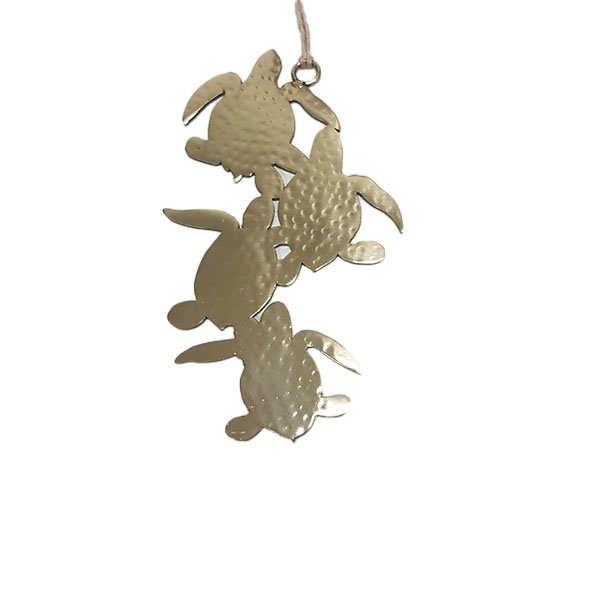 HAMMERED STAINLESS STEEL TURTLE ORNAMENT BRASS